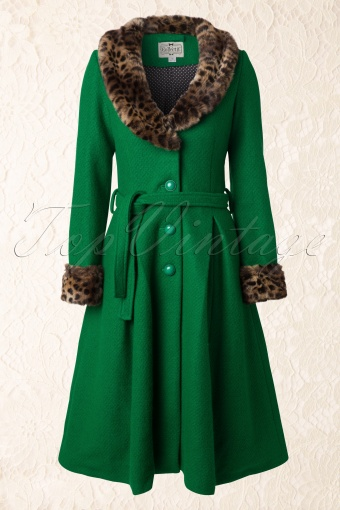 Collecif Clothing 40s Ashley Coat Fake Fur Green 152 40 10215 20141021 0009W