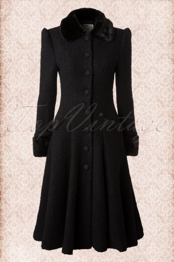Collectif Clothing Annabelle Textured Princess Coat Black Sample 20140616 0007W