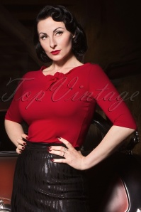 50s Lily Bow Top in Red