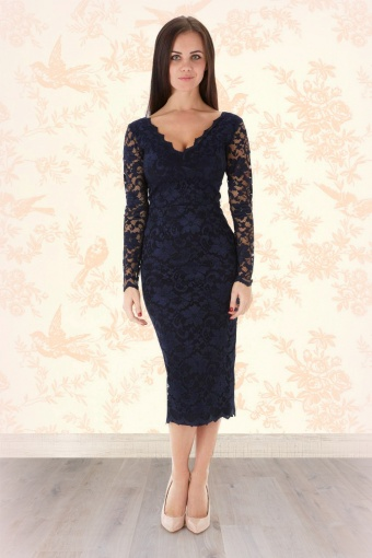 So couture scarlet midnight blue lace pencil dress
