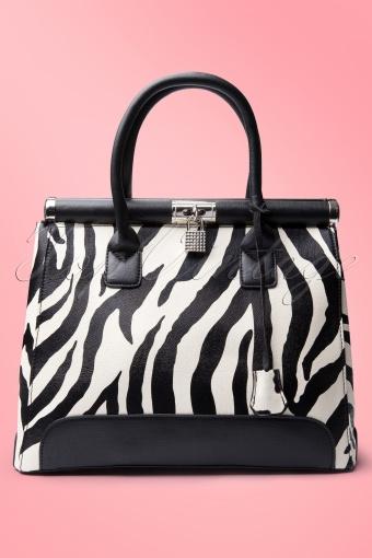 Zebra Cream Black handbag 88 4379 0009 RozeWAV