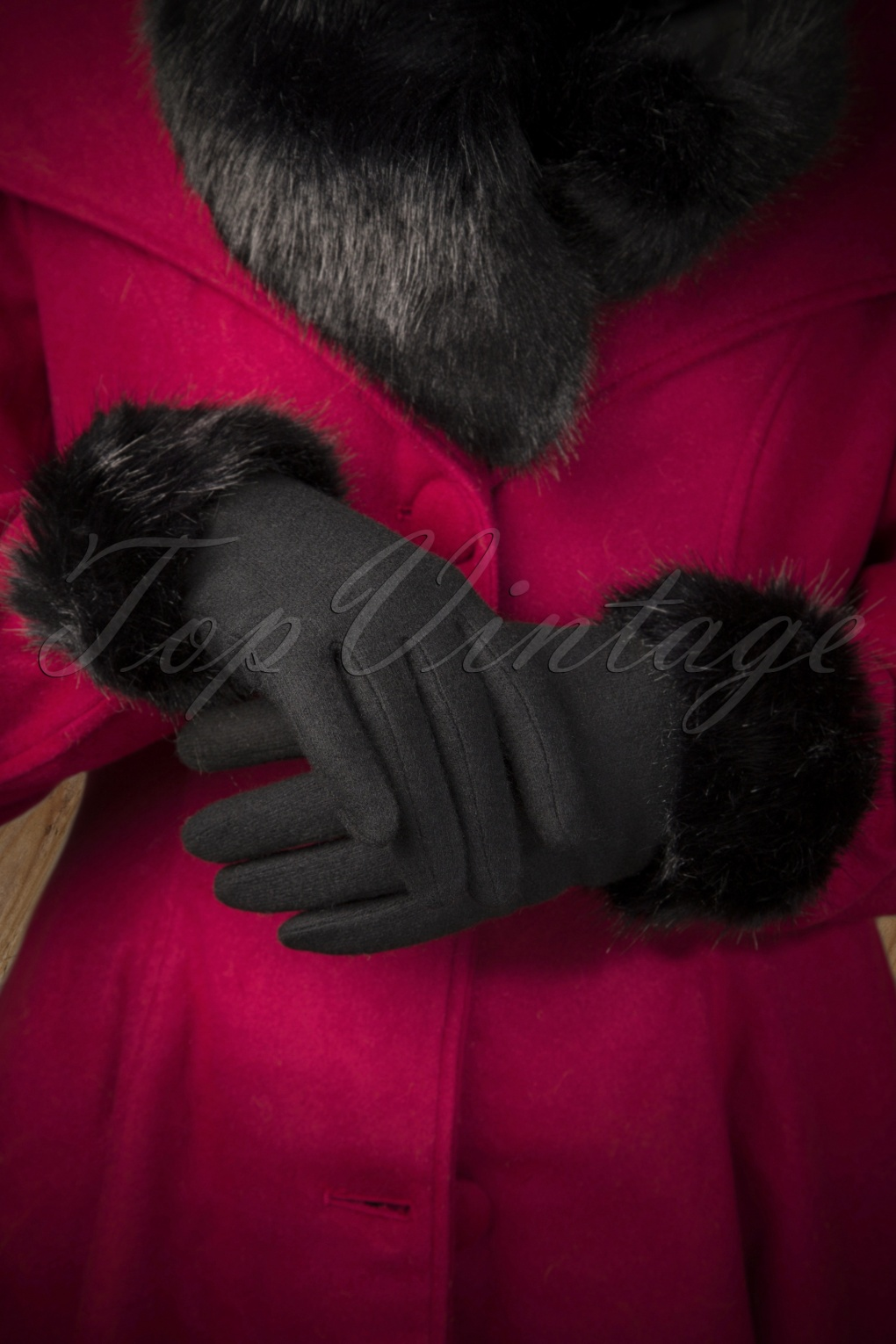 Vintage Style Gloves- Long, Wrist, Evening, Day, Leather, Lace 50s Furry Wool Gloves in Black £21.43 AT vintagedancer.com