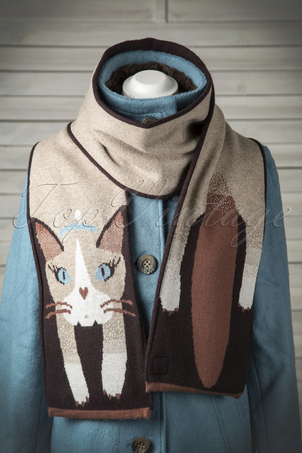 60s Cat Scarf In Brown