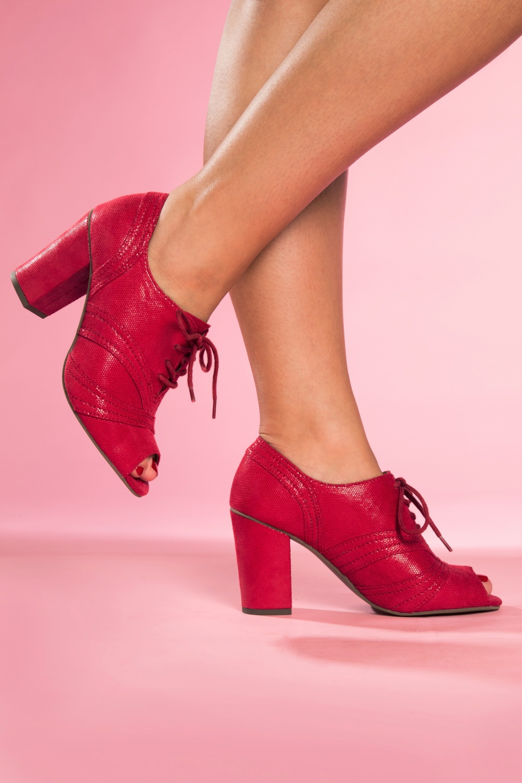 30s Eternity Peeptoe Heels in Red