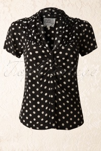 40s Paula Polkadot Blouse in Black and White