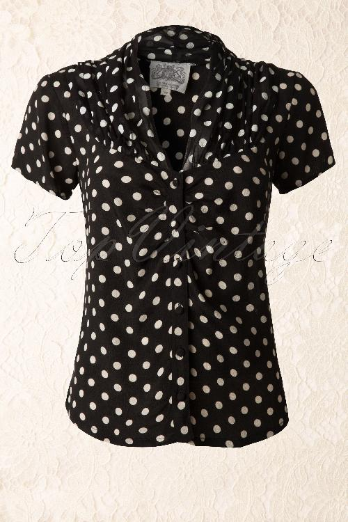 The Seamstress of Bloomsbury Paula Blouse Black Spot Polkadot 112 14 11863 20131112 0005K