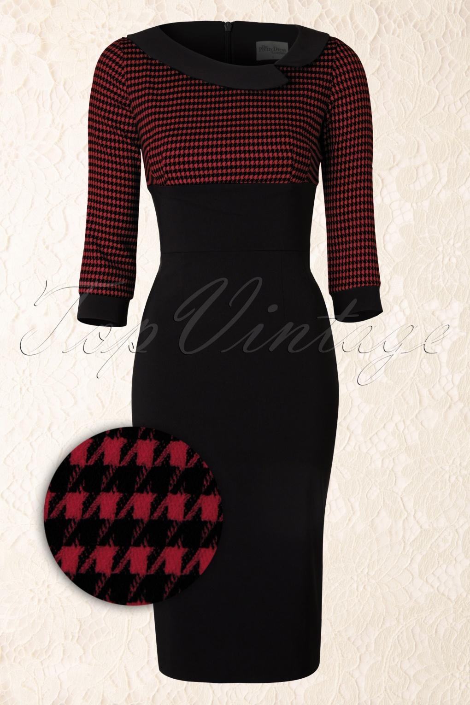 Mistress Red Houndstooth Vintage Pencil Dress Black
