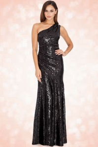 30s Sparkle Sequin One Shoulder Maxi Dress in Black