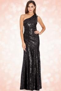 30s Sparkle Sequin One Shoulder Maxi Dress in Black