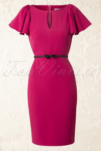 50s Carrie Butterfly Sleeves Pencil Dress in Pink