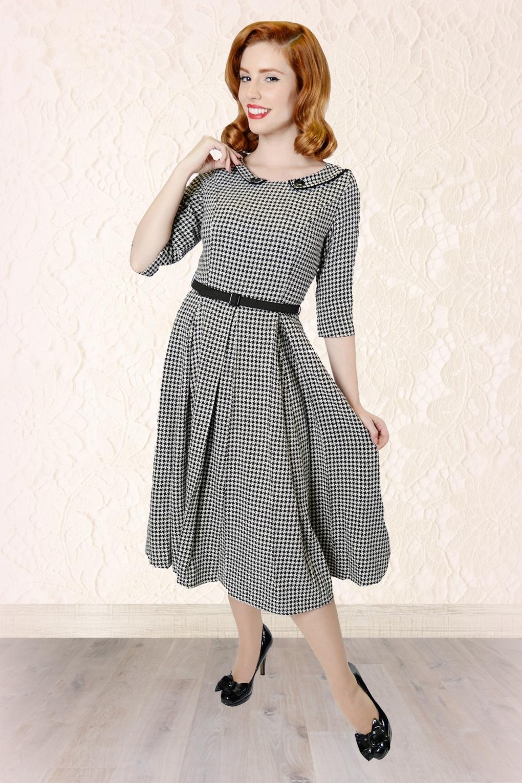 50s Ethel Houndstooth Swing Dress