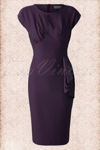 775df59eb Hell Bunny Bernardette Purple Pencil Dress 100 40 13483 20141020 004W
