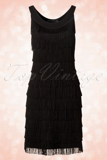 Topvintage Exclusive 20s Fringe Flapper Dress In Black