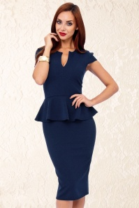 50s Carese Peplum Dress in Navy and Black