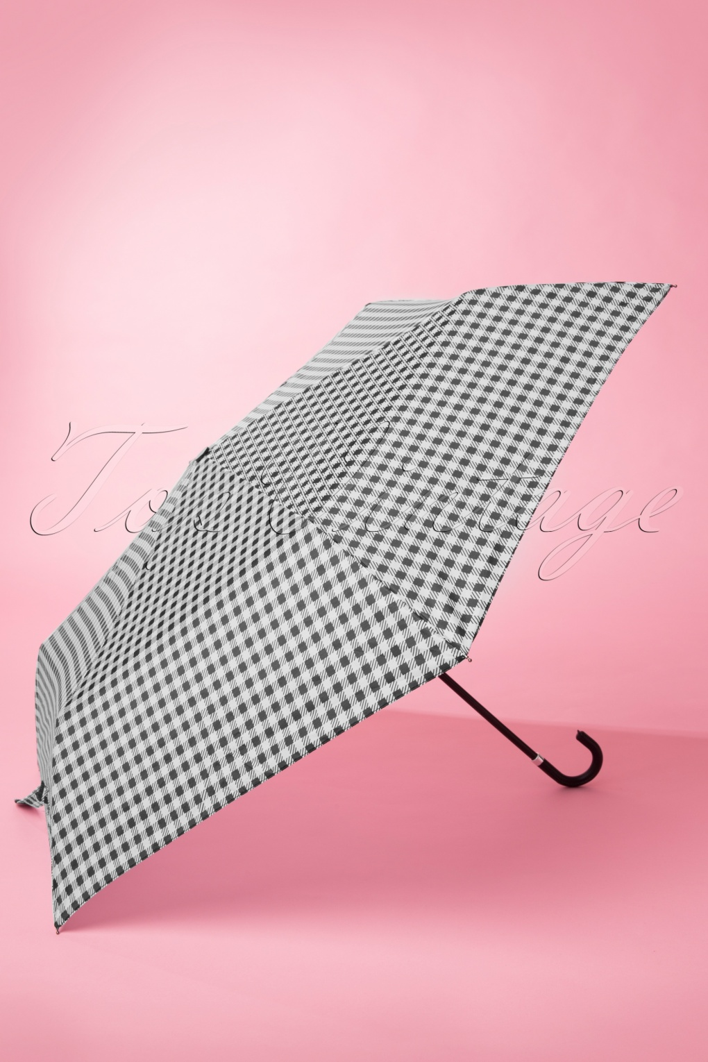 Vintage Style Parasols and Umbrellas Gracie Gingham Umbrella in Black and White £12.99 AT vintagedancer.com