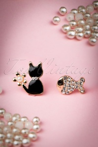 Mr Whiskers And Mr Bubbles Earrings Années 60