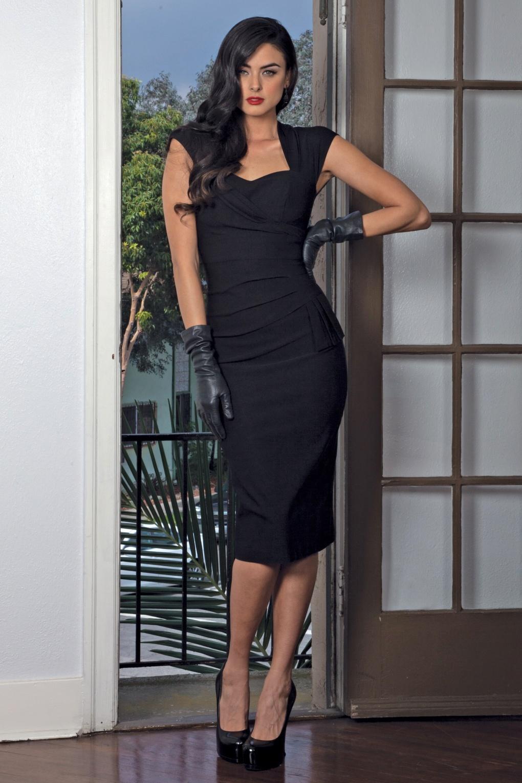 1950s Prom Dresses & Party Dresses 50s Uma Dress in Black £187.90 AT vintagedancer.com