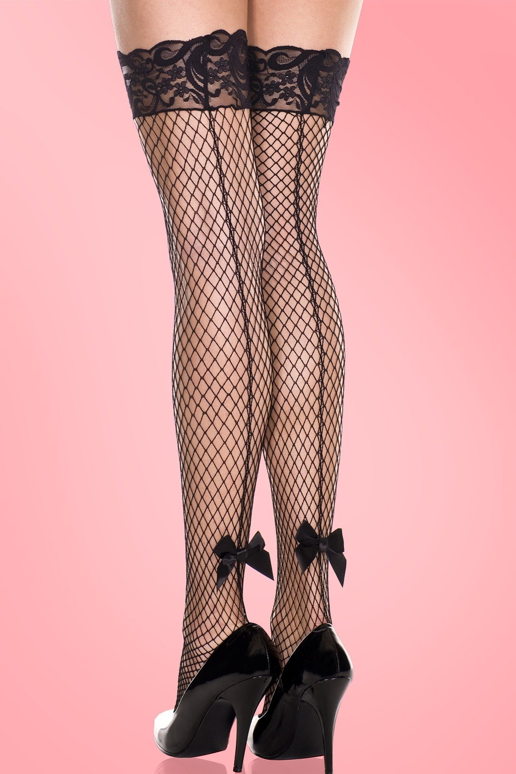 1920s Style Stockings & Socks 60s Kitten Backseam Lace Net Thigh Hi with Satin Bow £10.38 AT vintagedancer.com
