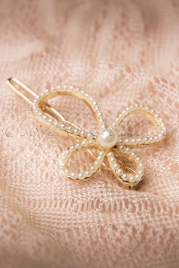 From Paris With love Winding White Pearl Bow Hairclip 208 51 13328 20141119 0006W