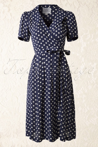 The Seamstress of Bloomsbury Peggy Dress Navy White Dot 106 39 14117 20141025 007W