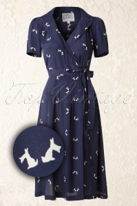 40s Peggy Doggy Wrapover Dress in Navy and Cream