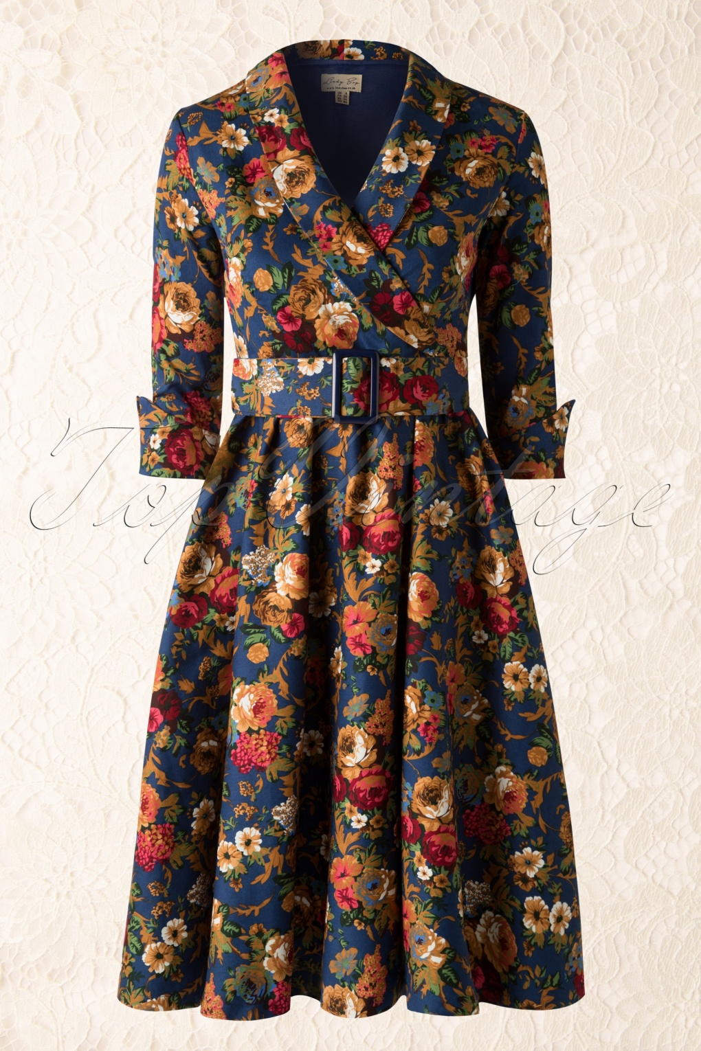 50s vivi vintage floral swing dress in dark blue