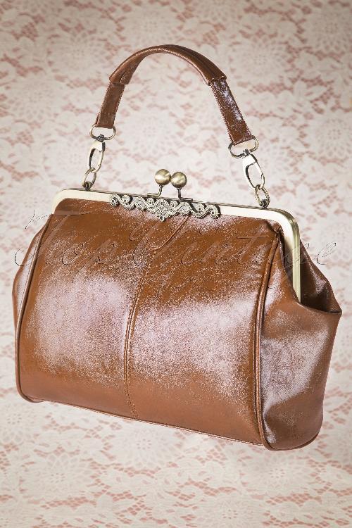 c94132ce66a 20s Vintage Frame Kisslock Clasp Bag in Tan