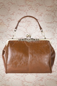 Kaytie 20s Vintage Frame Kisslock Clasp Bag in Tan