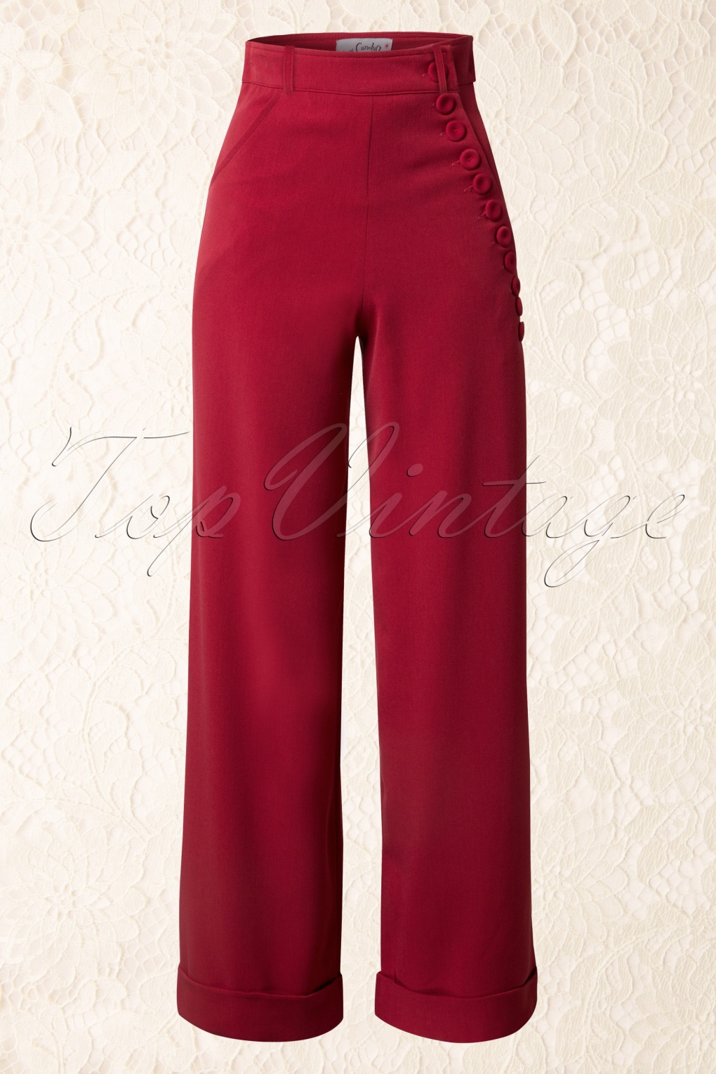 40s Nicolette High Waisted Swing Trousers Red
