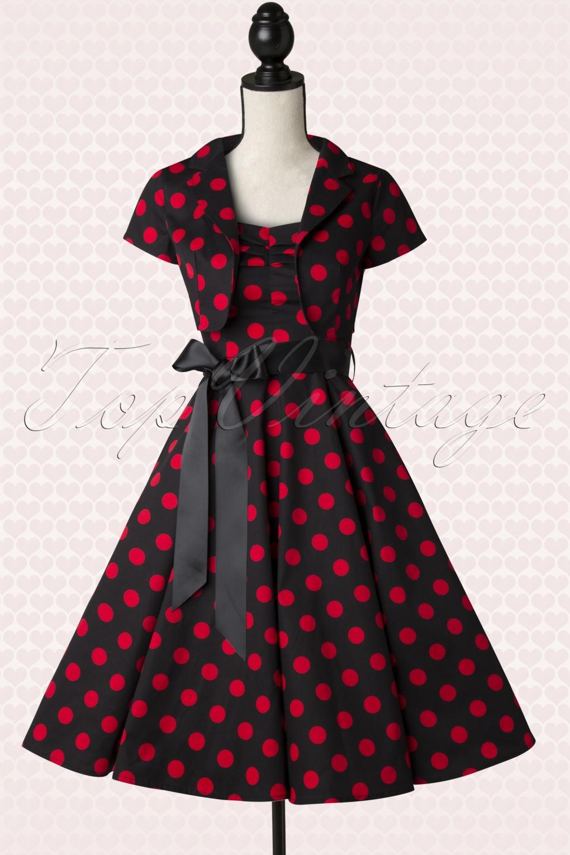 50s Jolie Big Dot Bolero Swing Dress In Black And Red