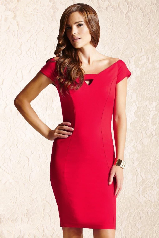 50s Elegant Pencil Dress In Red