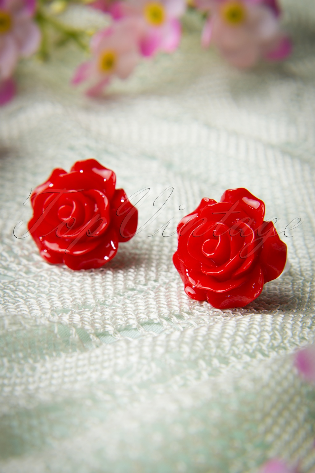 1950s Costume Jewelry 50s English Rose Earstuds Red £5.32 AT vintagedancer.com