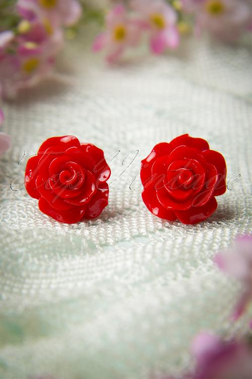 Collectif Clothing 50s English Red Rose Earstuds 330 20 10262 20141111 0043W