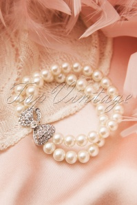 30s Sweet Bow Double Pearl Bracelet