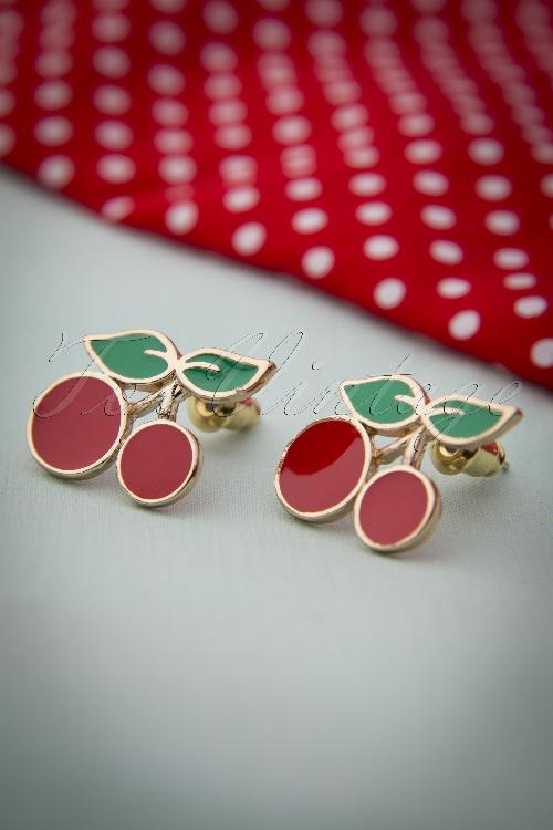 Collectif Clothing 50s Sassy Cherry Earpins 331 20 10319 20141115 0014W