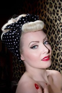 50s I Want Polkadots In My Hair Scarf in Black