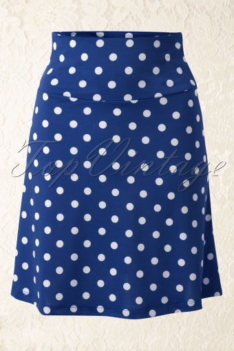 King Louie Polkadot Borderskirt Blue 107 39 13808 01222015 01