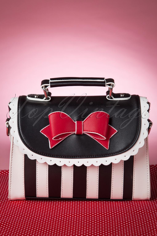 Vintage Style Parasols and Umbrellas Girly Black White Striped Red Bow handbag £68.02 AT vintagedancer.com