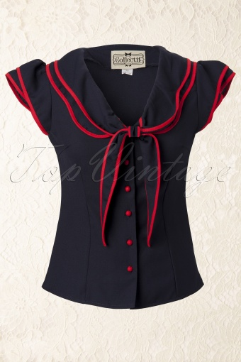 Collectif Clothing 50s Charlotte Sailor Top 10239 1