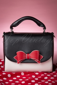 50s Delux Red Bow Bag in Black and White