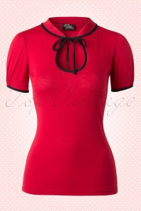 50s Keyhole to my Heart Top Red