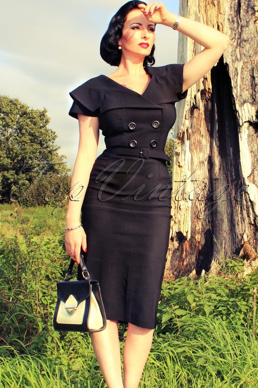 Secretary 50s Retro Pencil Dress Black