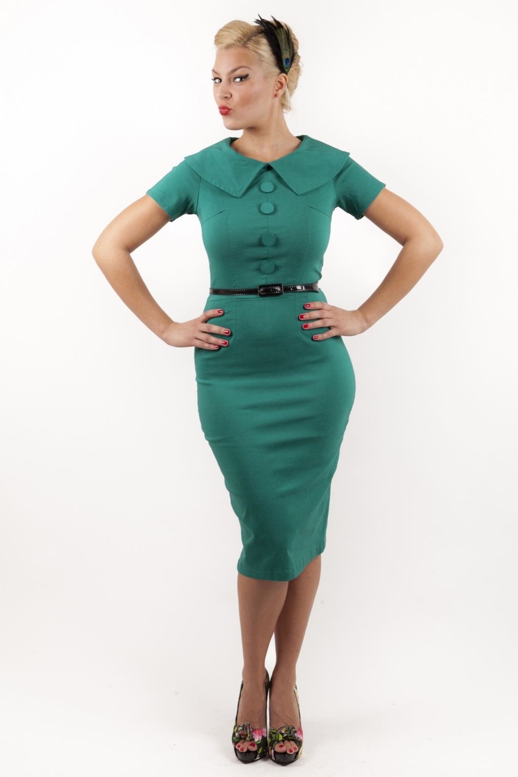 The 50 Best Fashion Tips Of All Time: 50s Jade Turquoise Wiggle Pencil Dress Retro
