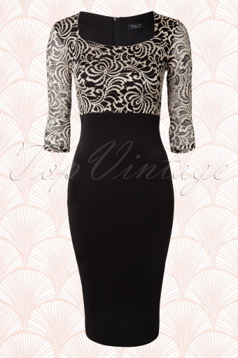 Vintage Chic Black Stone Lace Pencil Dress 100 14 14727 20150103 0006W