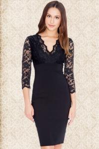 50s Julia Lace Bodice Dress in Black