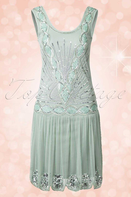 20s Zelda Flapper Dress In Mint
