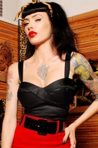 50s Deadly Dames Vamp Top in Black