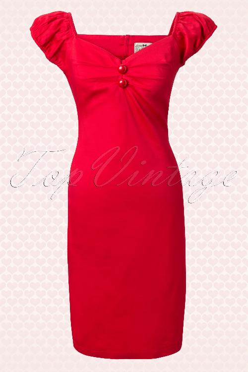 Collectif Clothing 50s Dolores Red Pencil Dress 10252 1