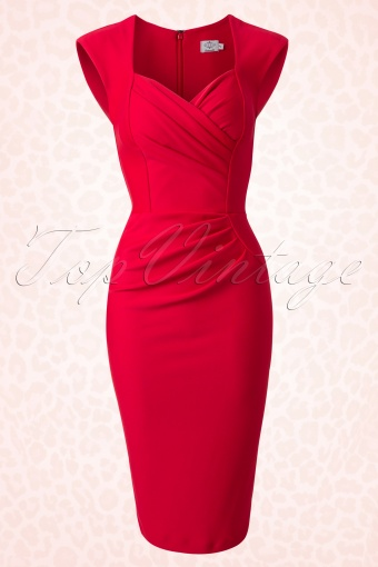 50s Vivian Pin-Up Pencil Dress in Red