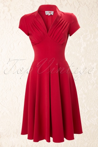 Miss Candyfloss 50s Odette Red swing dress 44 4576 20130226 0003W